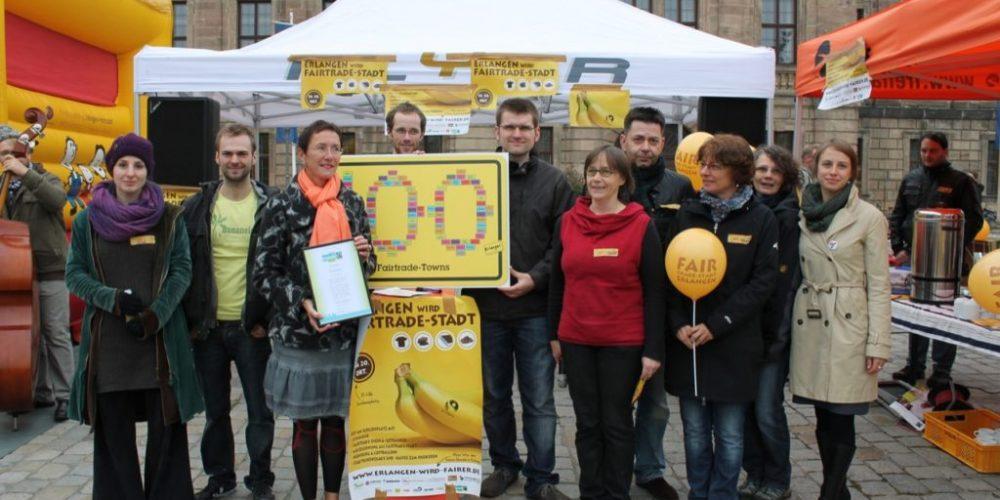 """Die Erlanger feiern ihren Titel """"100ste Fairtrade-Stadt"""" fair"""