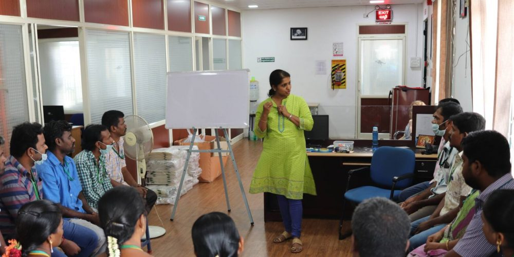 Textilprogramm in Tirupur: Einführungs-Workshop für Arbeiterinnen und Arbeiter